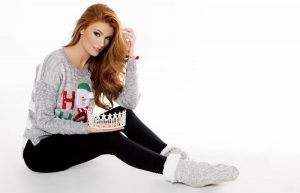 Miss Pennsylvania USA 2017 - Cassandra Angst -Christmas Photo - Gray Holiday Sweater with Crown Left